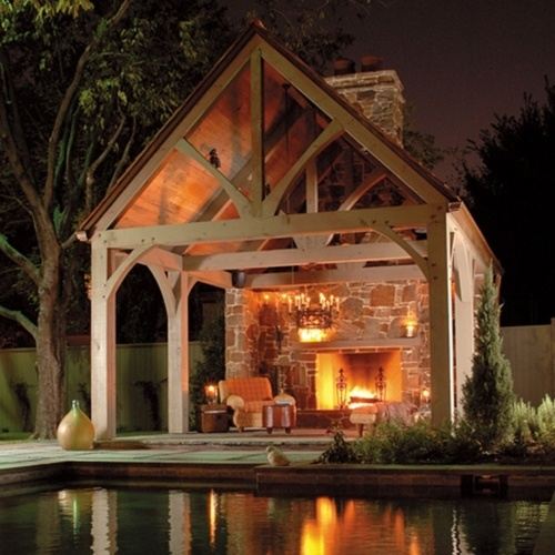 outdoor shelter with fireplace