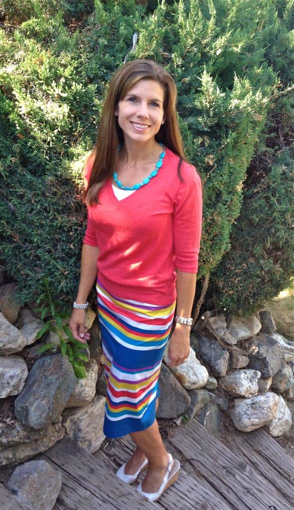 Target sweater, Boden skirt, Dillard's shoes