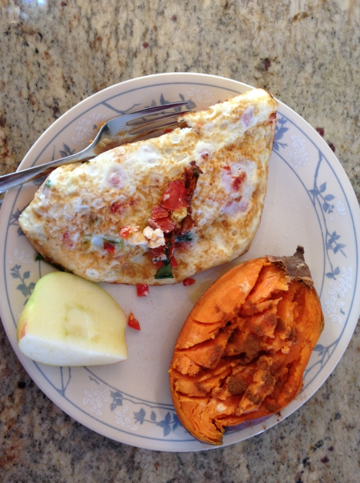 Breakfast: Egg white omelet, 1/2 sweet potato, 1/2 apple