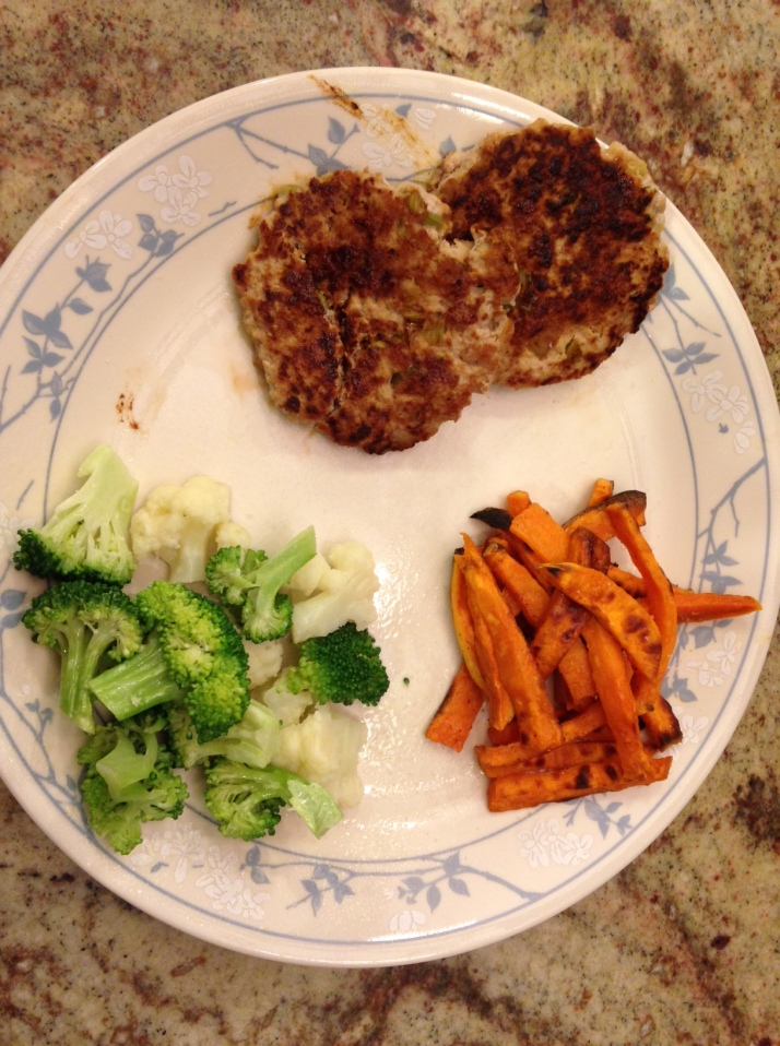 Dinner- 2 turkey burgers, broccoli, sweet potato fries