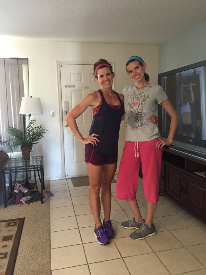 Working the T25 on vacation with my sis!